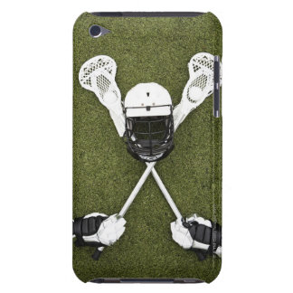 Lacrosse sticks, gloves, balls and sports helmet barely there iPod cases
