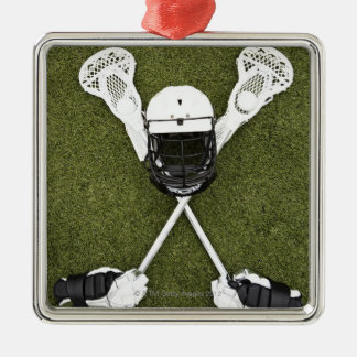 Lacrosse sticks, gloves, balls and sports helmet christmas ornament
