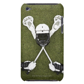 Lacrosse sticks, gloves, balls and sports helmet iPod touch covers