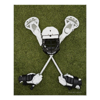 Lacrosse sticks, gloves, balls and sports helmet poster