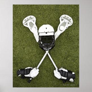 Lacrosse sticks, gloves, balls and sports helmet poster