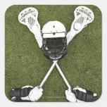 Lacrosse sticks, gloves, balls and sports helmet square sticker
