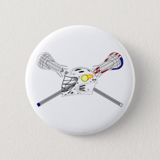 Lacrosse sticks with helmet 6 cm round badge