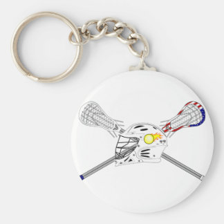 Lacrosse sticks with helmet basic round button key ring