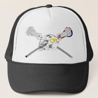 Lacrosse sticks with helmet cap