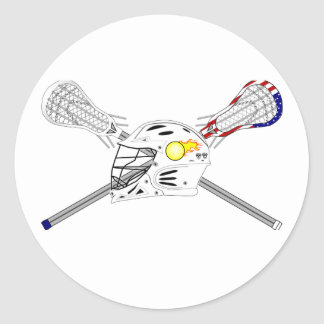 Lacrosse sticks with helmet classic round sticker