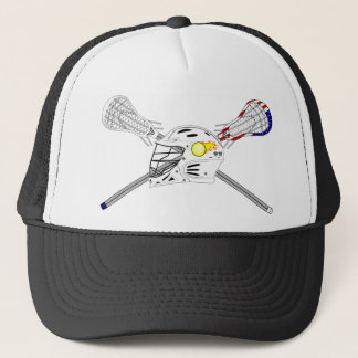Lacrosse sticks with helmet trucker hat