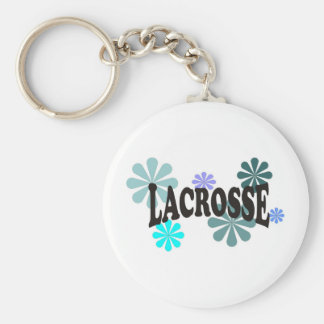 Lacrosse with Blue Flowers Key Ring