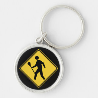 Lacrossing lax sign Silver-Colored round key ring