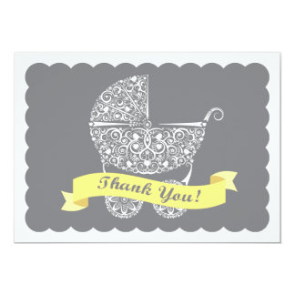 Lacy Baby Carriage Thank You Note Yellow 13 Cm X 18 Cm Invitation Card