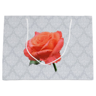 Lacy Background with Single Rose Large Gift Bag