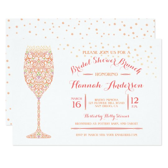 Lacy Champagne Bridal Shower Brunch Invitation