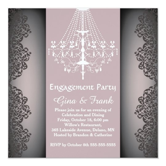 Lacy damask pattern, chandelier Engagement Party Card