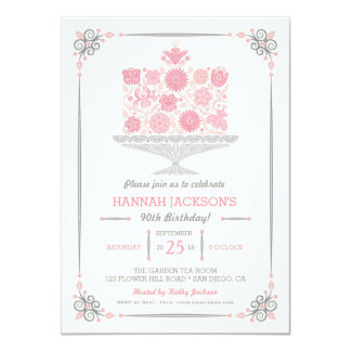 Lacy Flower Birthday Cake Invitation II