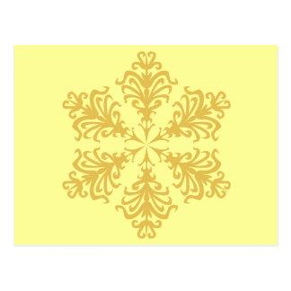Lacy Gold Christmas Snowflake Postcard
