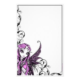 """Lacy"" Gothic Pink Valentine Fairy Art Stationery"
