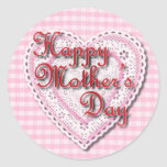 Lacy heart for Mum on Mother's Day Round Sticker