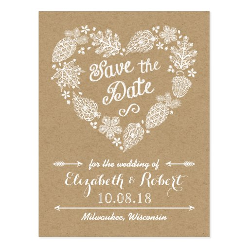 Lacy Leaves - Fall in Love Save the Date Postcard