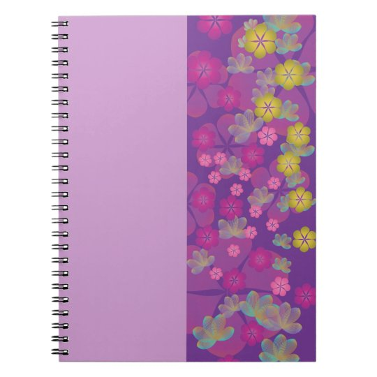 Lacy Lotus Purple Half Stripe Notebook