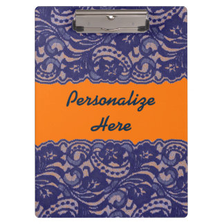Lacy Orange & Blue Clipboard