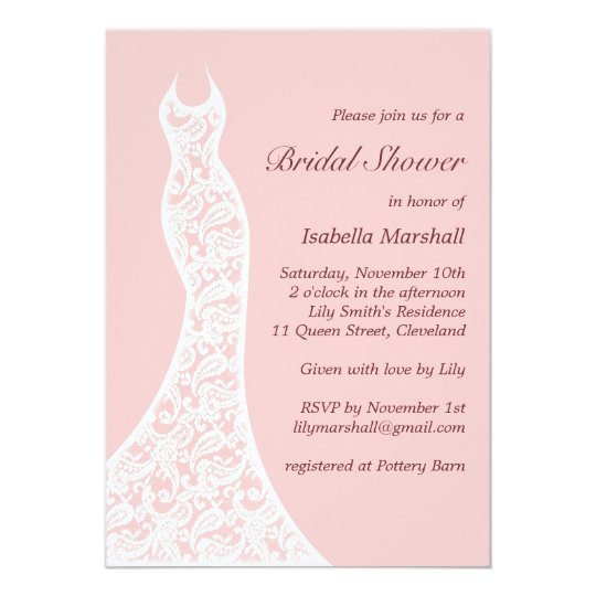 Lacy Pink Bridal Shower Invitation