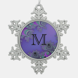 Lacy Purple Fractal Monogram Christmas Ornament
