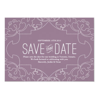 "Lacy Save the Date // Orchid or Violet 5"" X 7"" Invitation Card"
