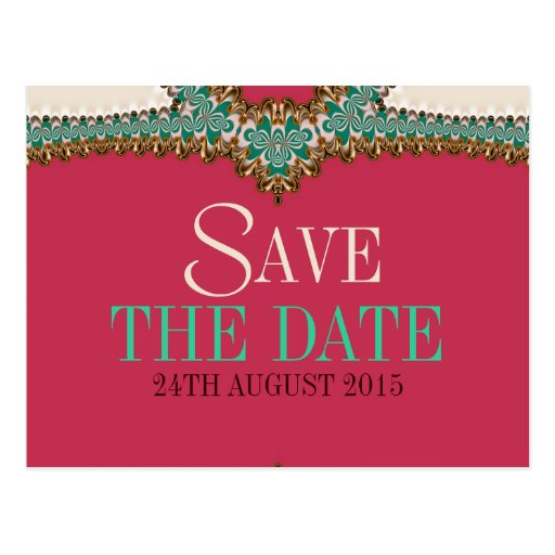 Lacy Teal Gold Pink Unique Save the Date Postcard