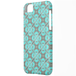 Lacy Turquoise Grey Tile Design Iphone Case