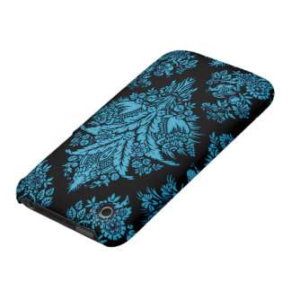 Lacy Vintage Floral - Bright Aqua on Black iPhone 3 Case-Mate Cases