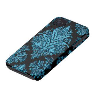 Lacy Vintage Floral - Bright Aqua on Black Case-Mate iPhone 4 Cases
