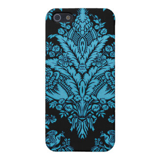 Lacy Vintage Floral - Bright Aqua on Black Cover For iPhone 5/5S
