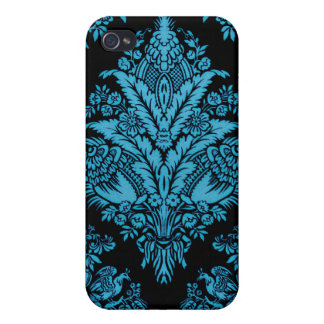 Lacy Vintage Floral - Bright Aqua on Black iPhone 4/4S Cover