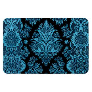 Lacy Vintage Floral - Bright Aqua on Black Rectangular Photo Magnet