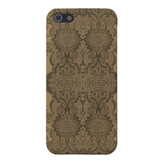 Lacy Vintage Floral in Brown iPhone 5 Cover