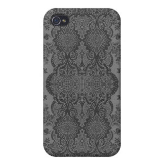 Lacy Vintage Floral in Gray iPhone 4 Covers