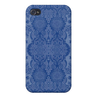 Lacy Vintage Floral in Medium Blue Cover For iPhone 4