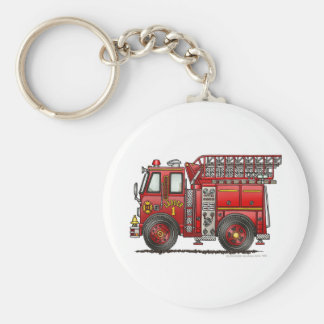 Ladder Fire Truck Firefighter Basic Round Button Key Ring