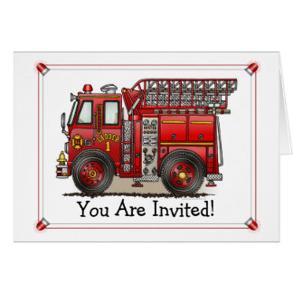 Ladder Fire Truck Party Invitation