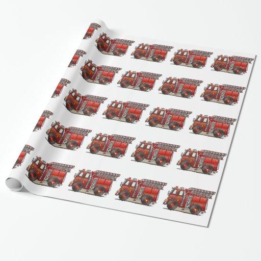 Ladder Fire Truck Gift Wrap Paper