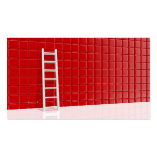 Ladder leaning against to wall pack of standard business cards
