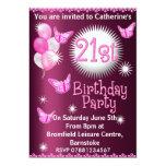 Ladies 21st Birthday Party Invitation Pink