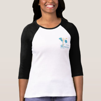 Ladies 3/4 Sleeve Fitted B&W - EIF Design & Logo T-Shirt