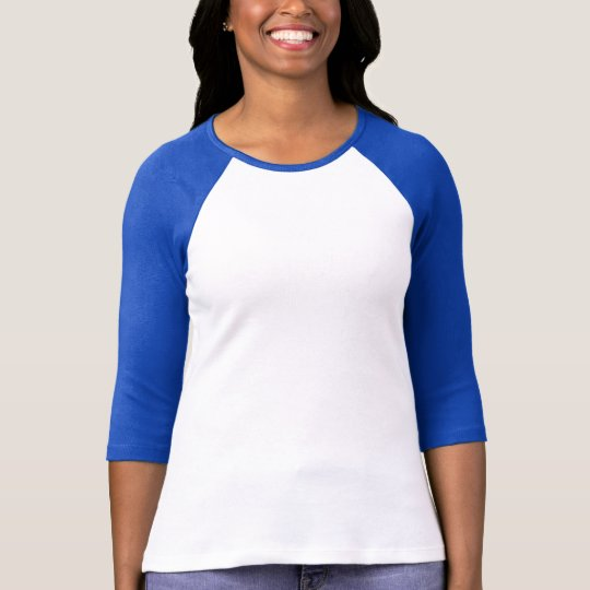 Ladies 3/4 Sleeve Raglan Fitted White Navy Blue
