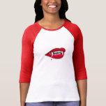 Ladies 3/4 Sleeve Raglan, White/Red VAMPIRE TEETH Tee Shirts