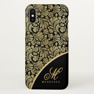 Ladies Abstract Floral Elegant Gold Black Monogram iPhone X Case