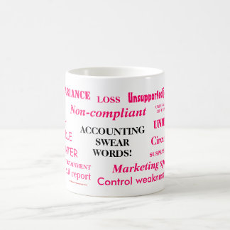 Ladies Accounting Swear Words!! Pink 'n' black Basic White Mug