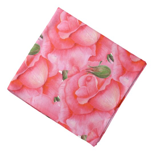 Ladies Bandanna Pink Roses Floral Art