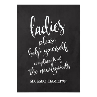 Ladies Bathroom Basket Affordable Chalkboard Sign Card