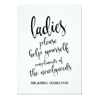Ladies Bathroom Basket Affordable Sign Card